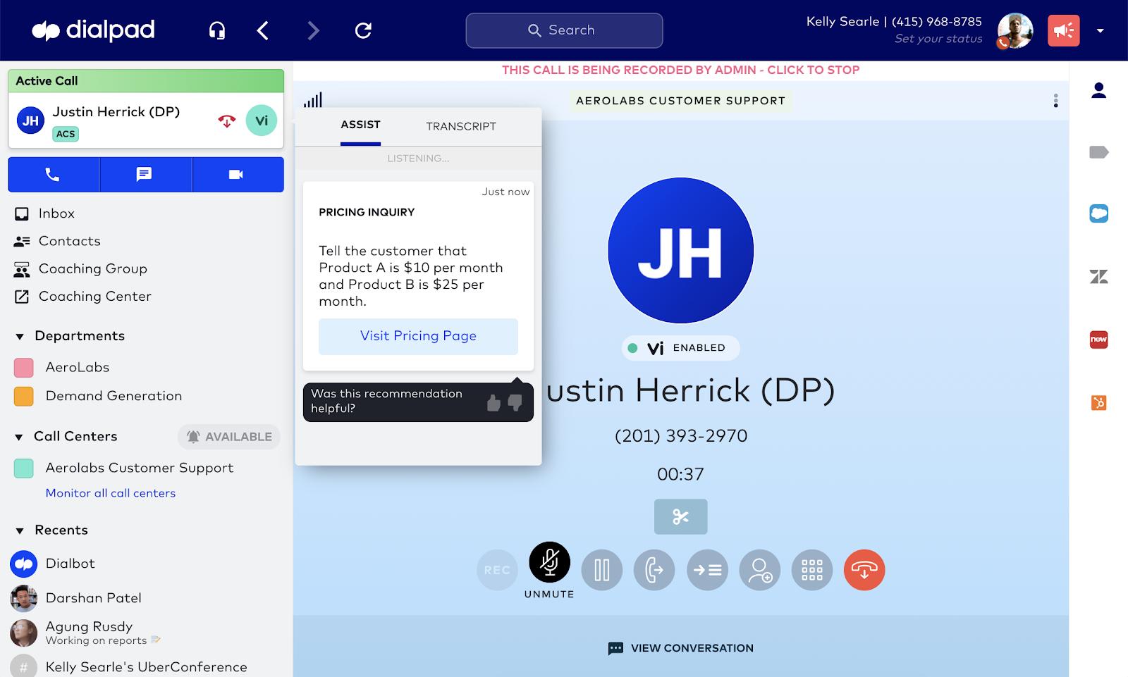 Call center live coaching screenshot 1