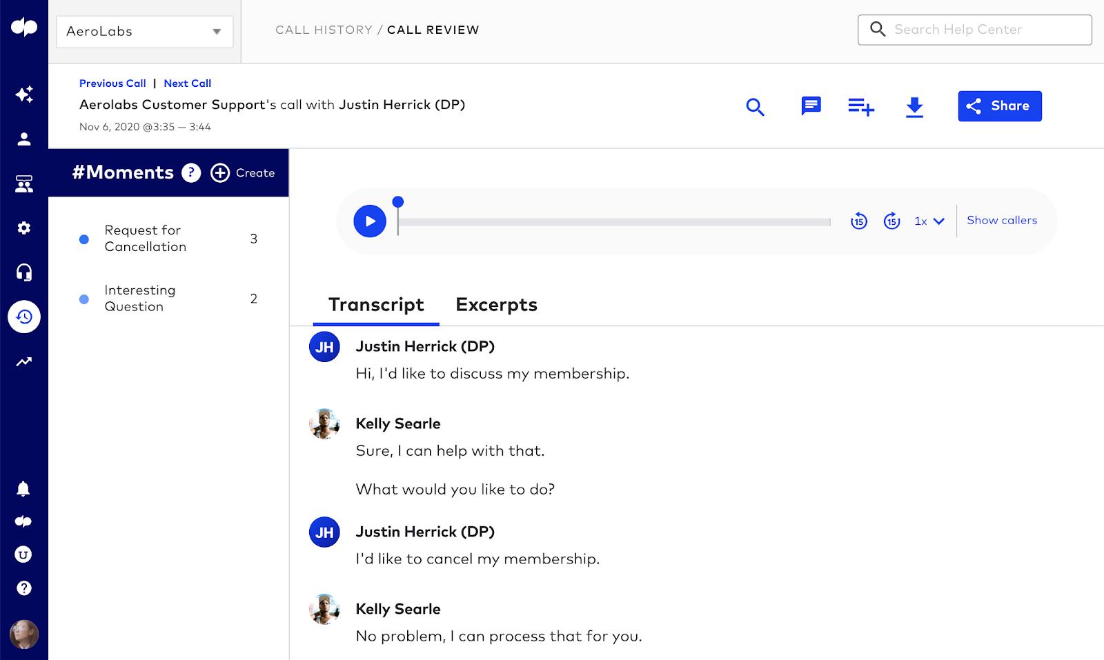 Call center live coaching screenshot 3