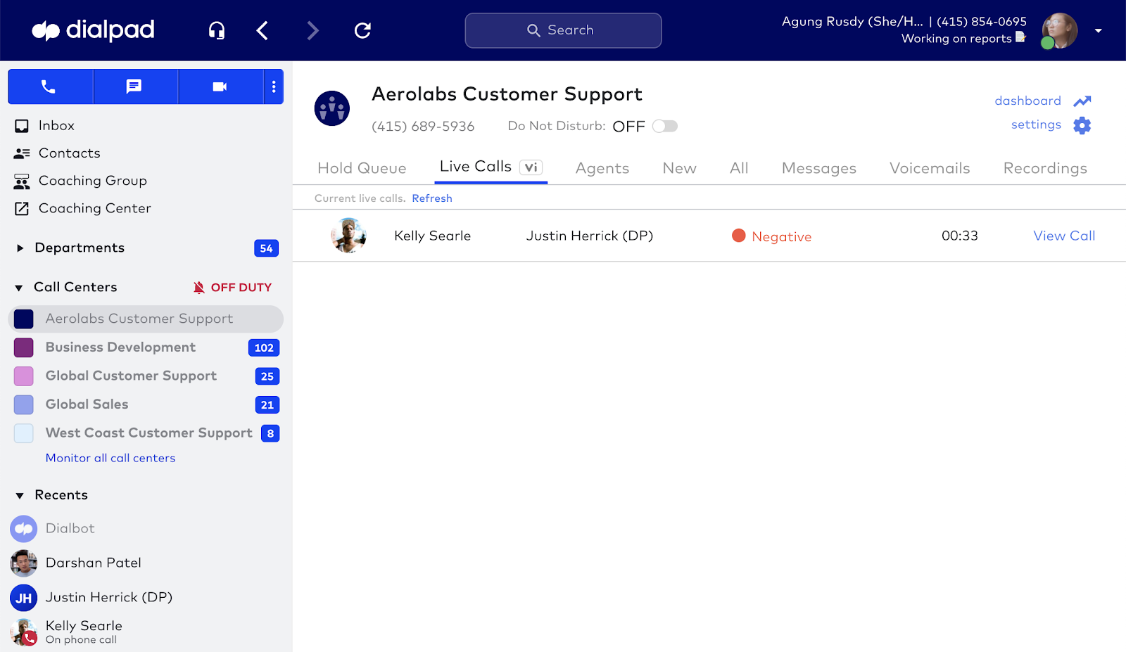 Call center live coaching screenshot 5