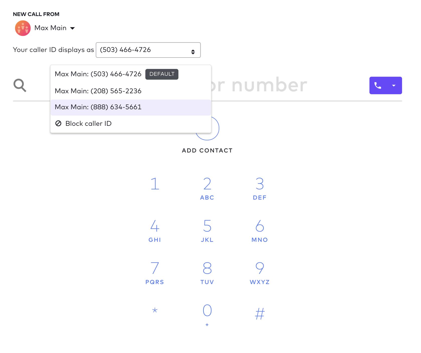 caller IDs showing DIDs