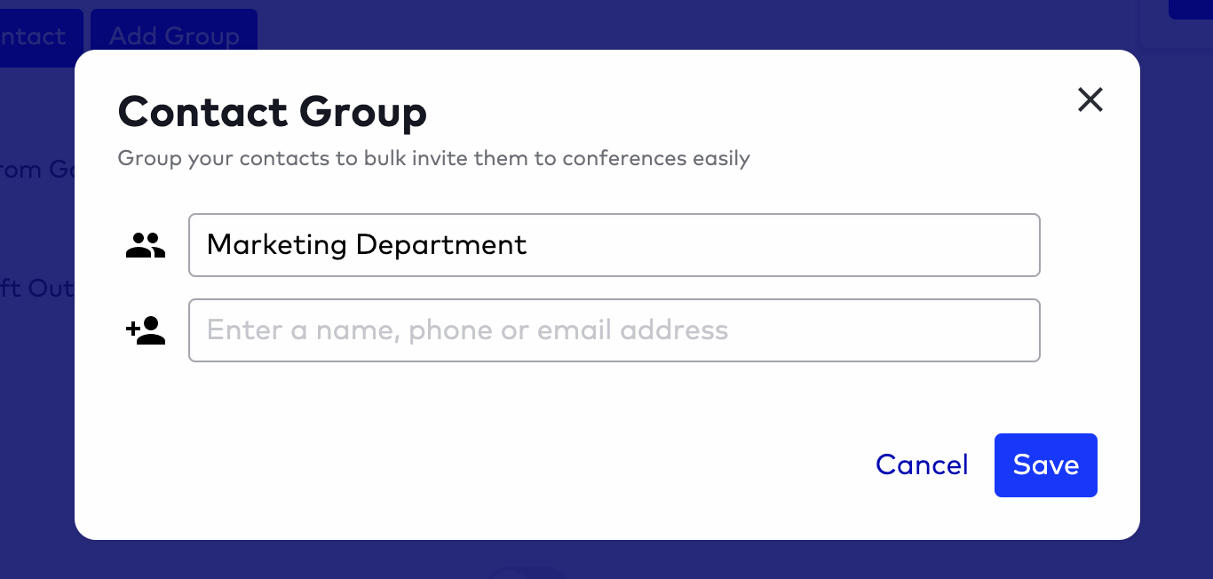 creating a contact group in dialpad