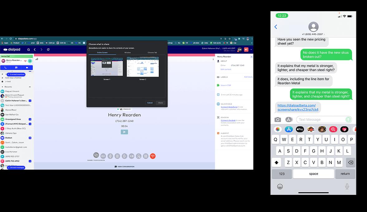 dialpad on-call screen sharing