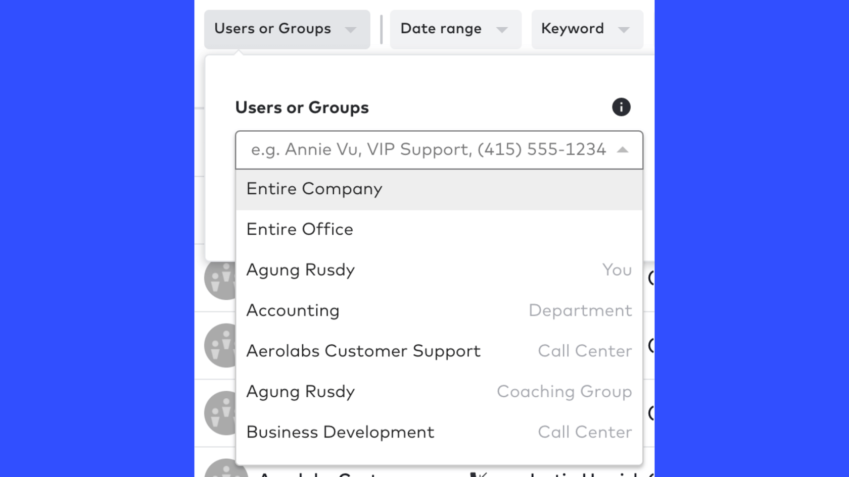 filtering call history in dialpad