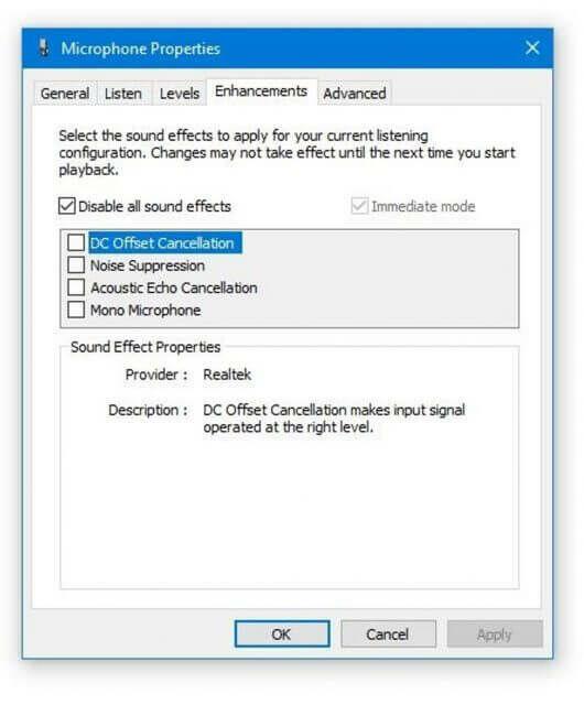 mic settings in windows 10
