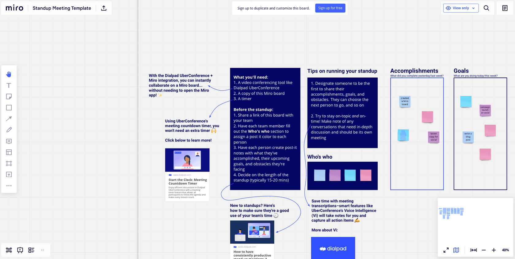 miroverse template for standup meetings