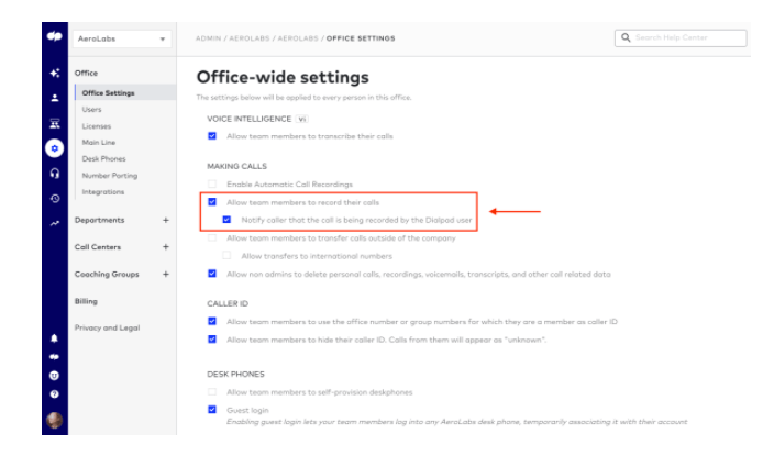 office wide call recording feature in dialpad app