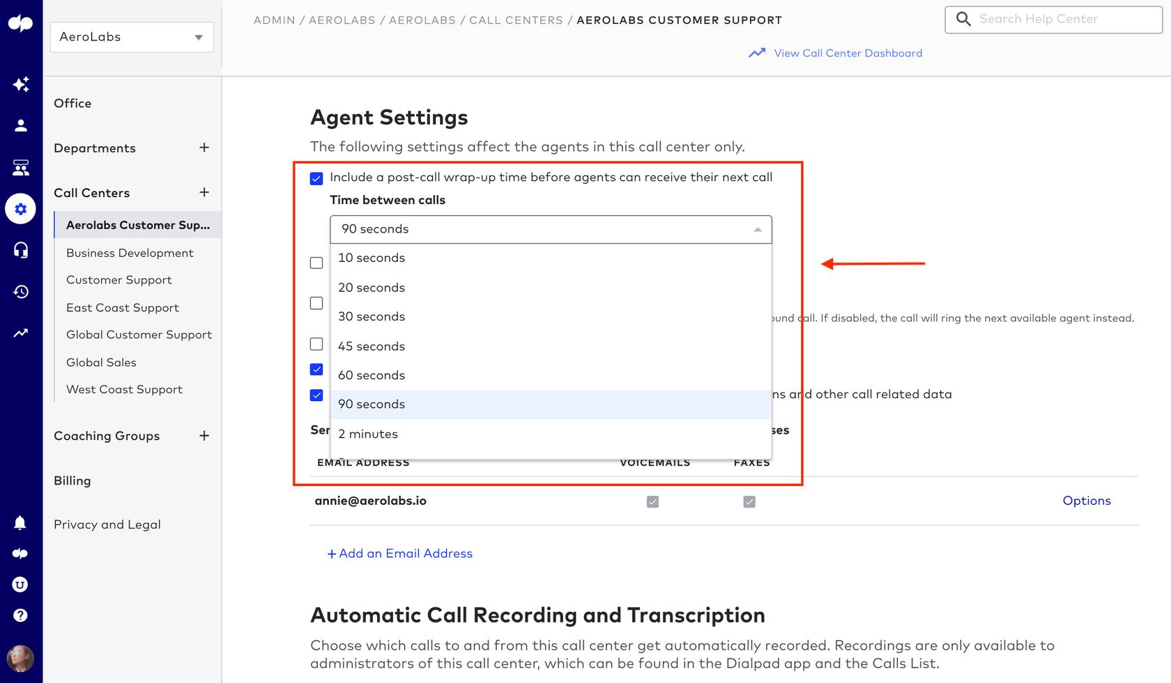 post-call-wrap-up-time-options dialpad contact center