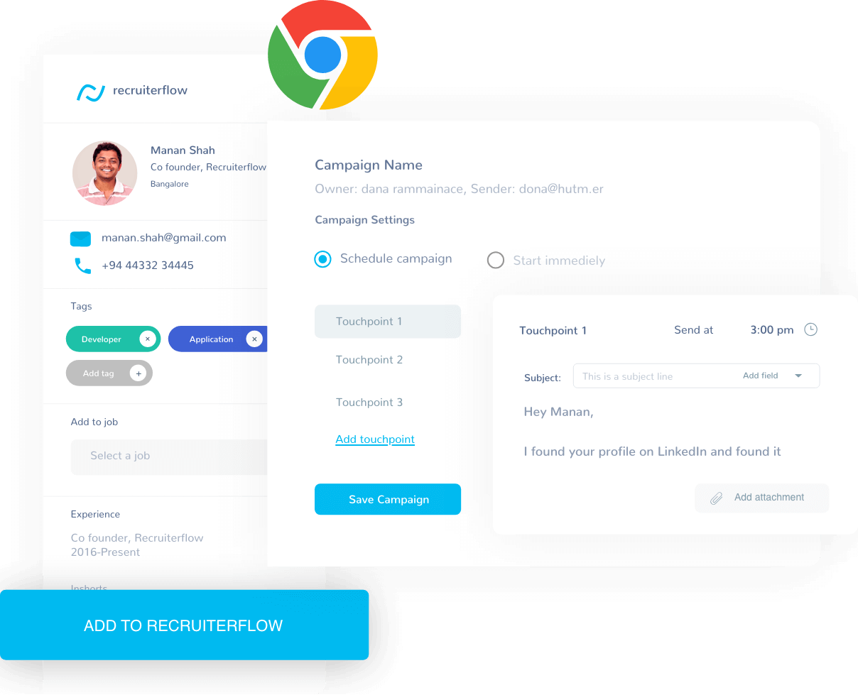 Recruiterflow tool UI