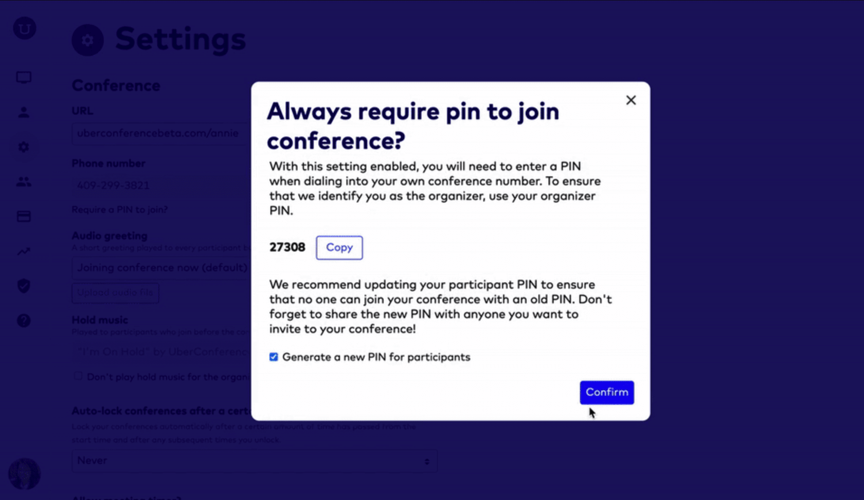 requiring a PIN to join dialpad meeting