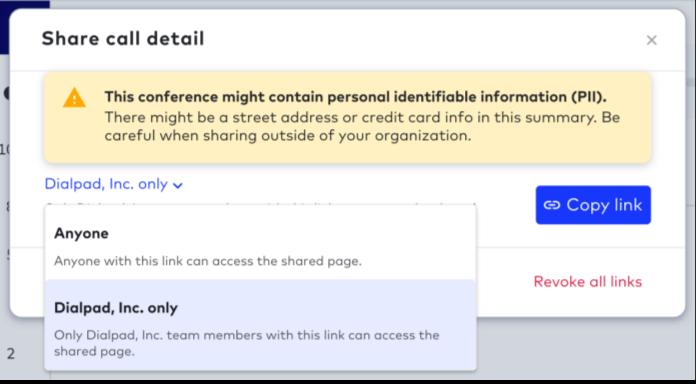 revoking sharing links in dialpad