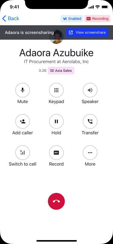 screen sharing on dialpad mobile app