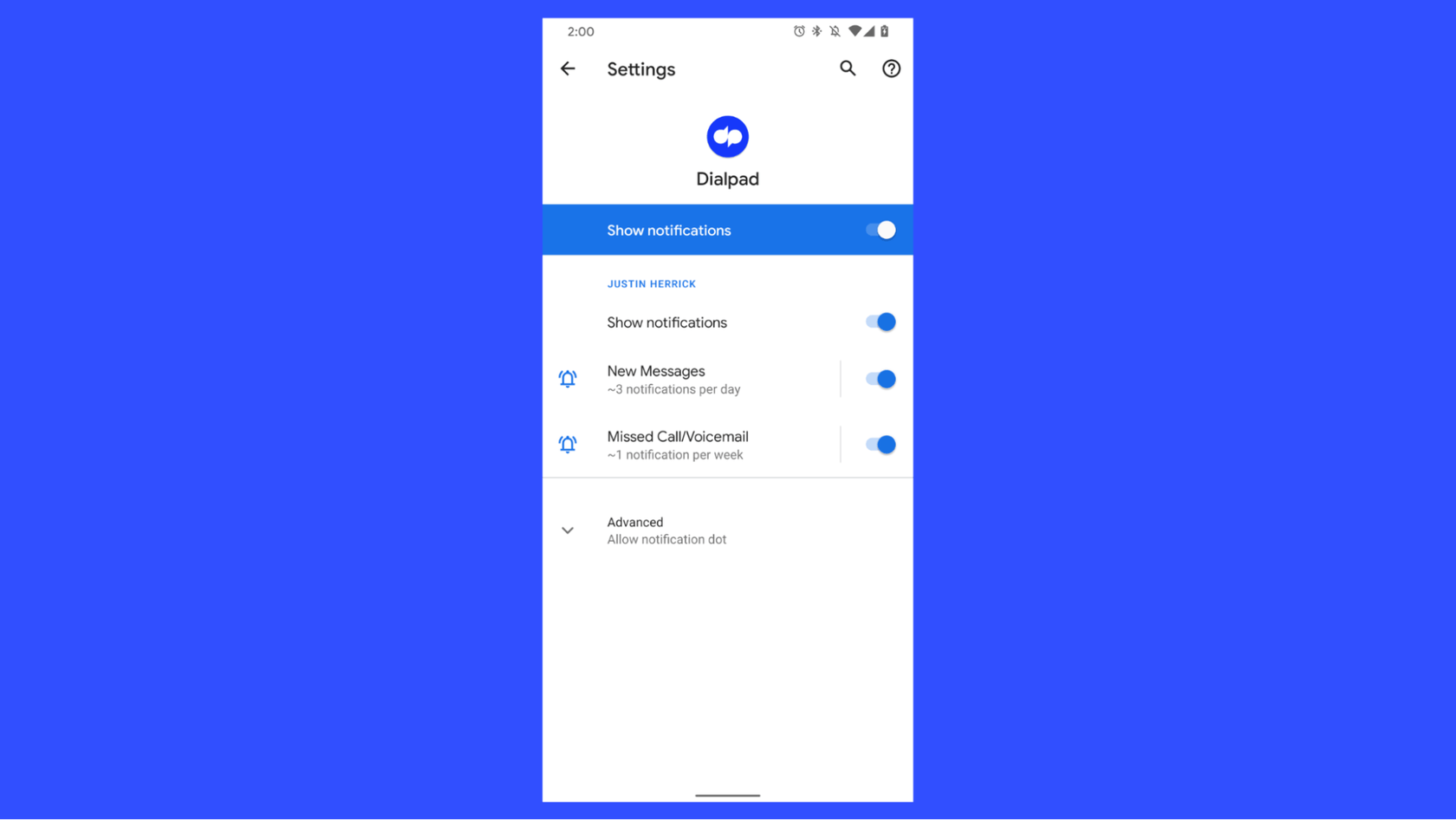 voicemail notifications in dialpad android app