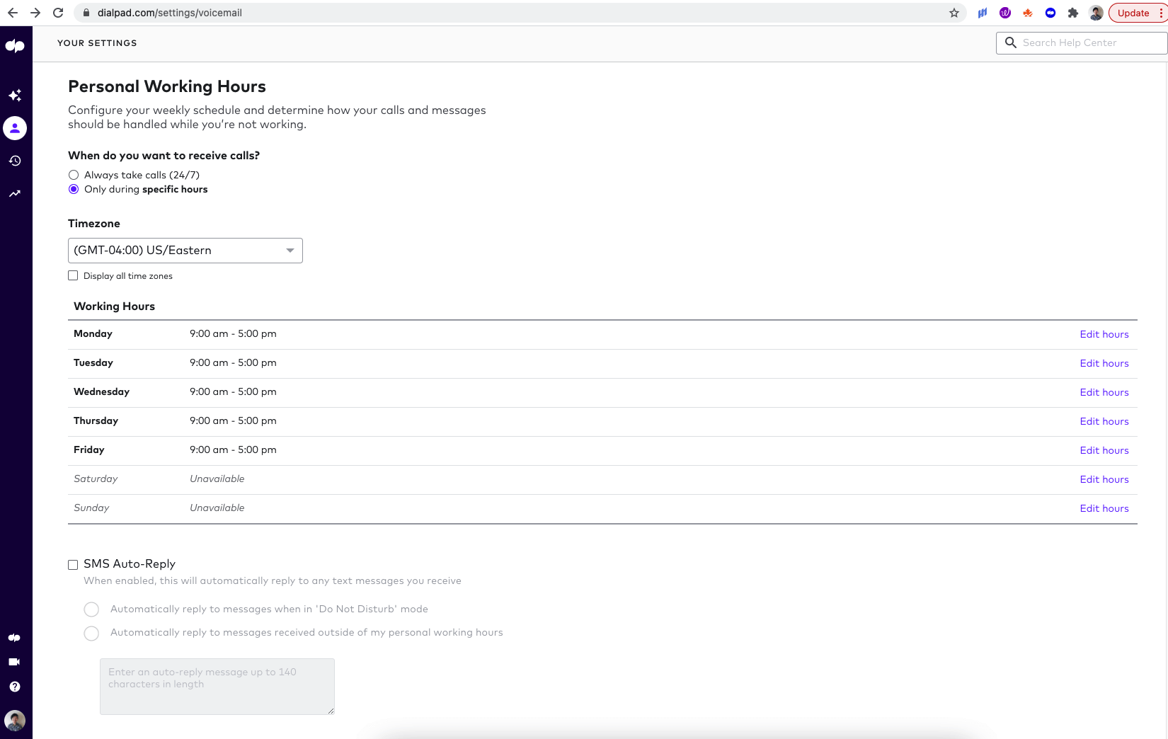 setting working hours in dialpad