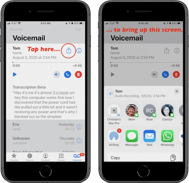 sharing a voicemail on iphone