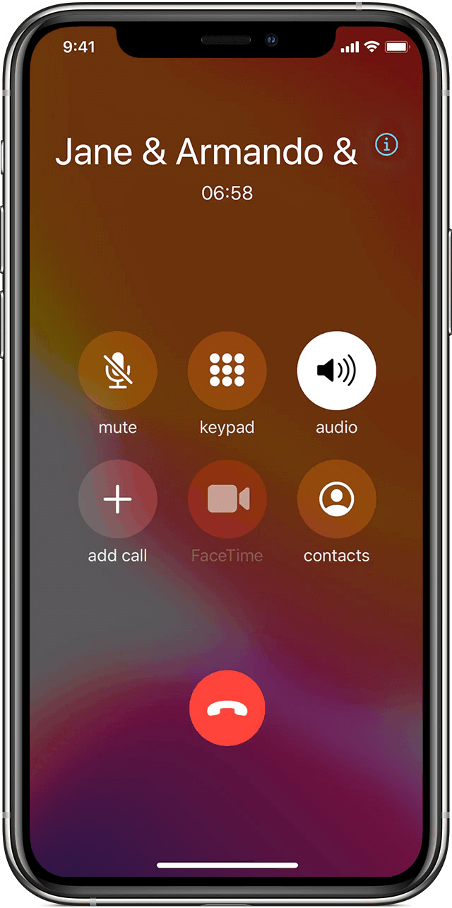 starting a conference call in iphone