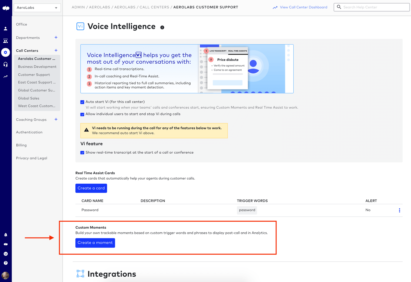 how to create a custom moments using dialpad voice intelligence