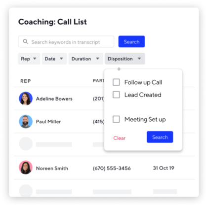 Coaching call list UI