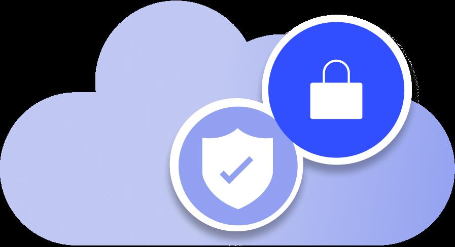 Locked secured cloud illustration