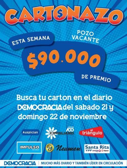 El Cartonazo quedó vacante y ahora el premio es de 90 mil pesos