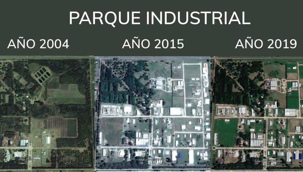 Las vistas aéreas el Parque Industrial de Junín que exhibieron ayer desde el meonismo.