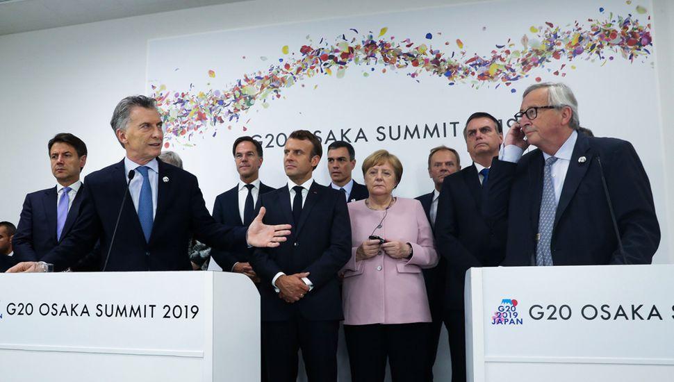 Mauricio Macri hace gala de la reinserción argentina en el mundo, tras el acuerdo entre el Mercosur y la Unión Europea.