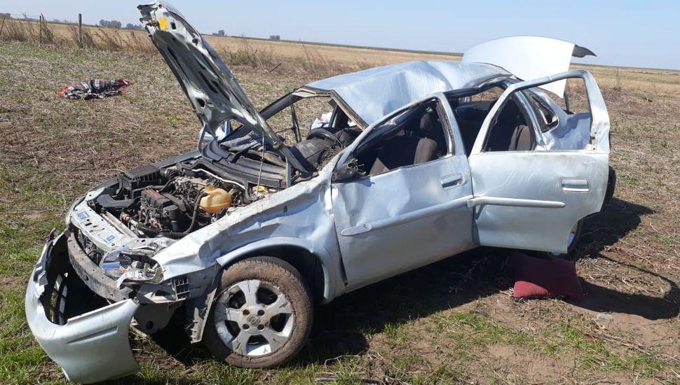 Vehículo volcado en la Ruta N° 65, donde viajaba Salse.