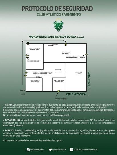 La dirigencia del Club Sarmiento de Junín informó sobre el protocolo a cumplirse en la entidad cuando vuelvan las distintas actividades deportivas.