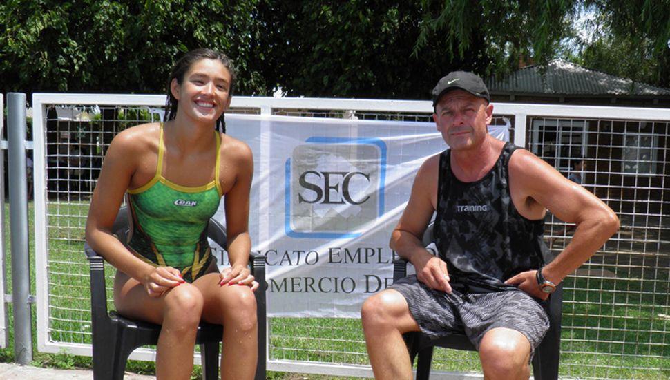 Lucia Ferreri y su entrenador Diego Cuadrado.
