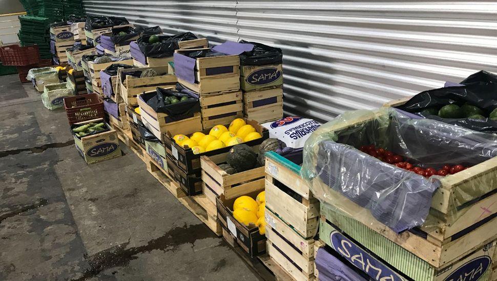 Las frutas y verduras donadas.