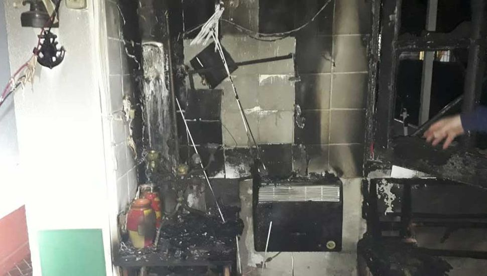 En la vivienda de calle Necochea, con serios daños.