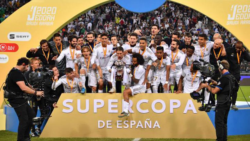 Festejo del Real Madrid, campeón de la Supercopa de España.