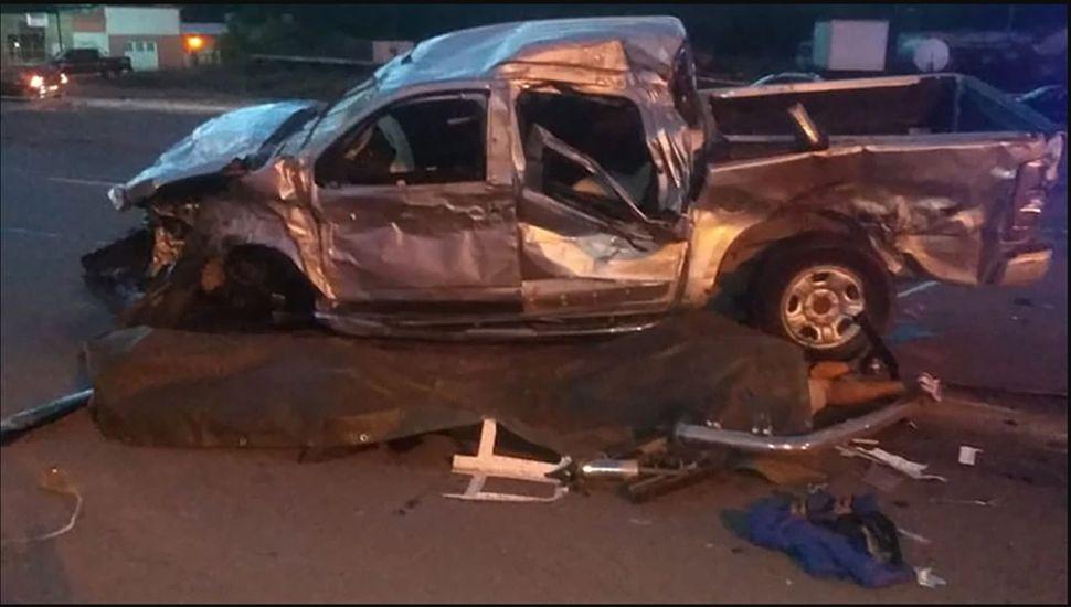 Camioneta donde viajaban las nueve personas fallecidas el 24 de marzo último.