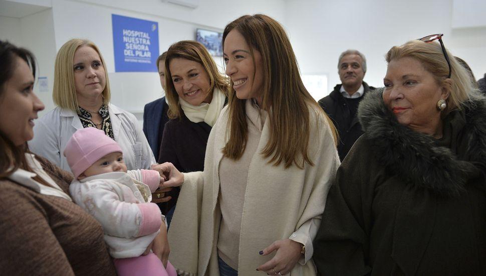 María Eugenia Vidal, recorrió la obra de construcción del nuevo hospital materno neonatal de Pilar.
