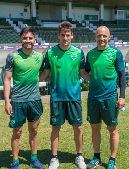 Los tres refuerzos del plantel: Torres, Albertengo y Mancinelli.
