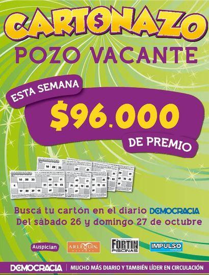 El Cartonazo quedó vacante y ahora el premio es de 96 mil pesos