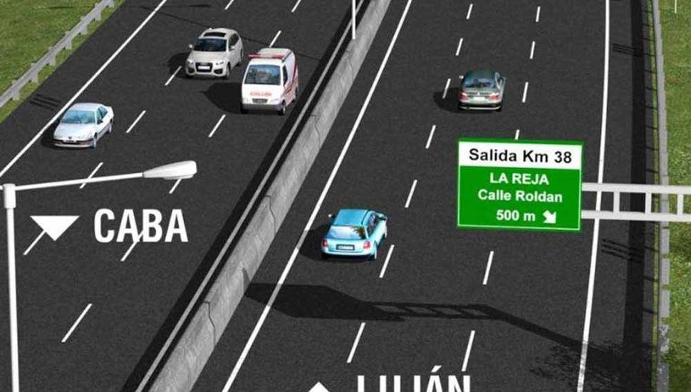 Se prevé la construcción de un cuarto carril a lo largo de 3,5 kilómetros, sentido a Luján.