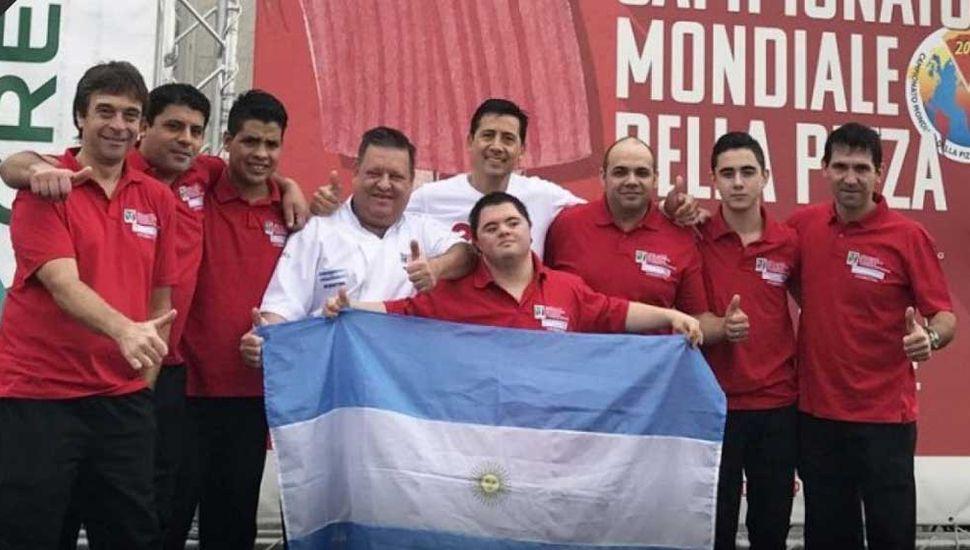 Delegación argentina destacada en el Mundial de Italia.