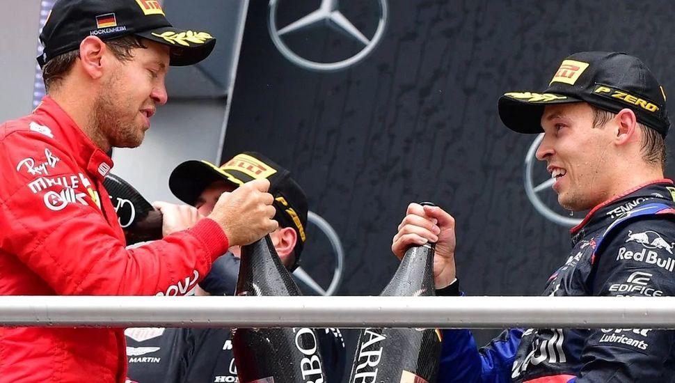 Festejo de Verstappen y hazaña de Vettel, el 1-2 en Alemania.