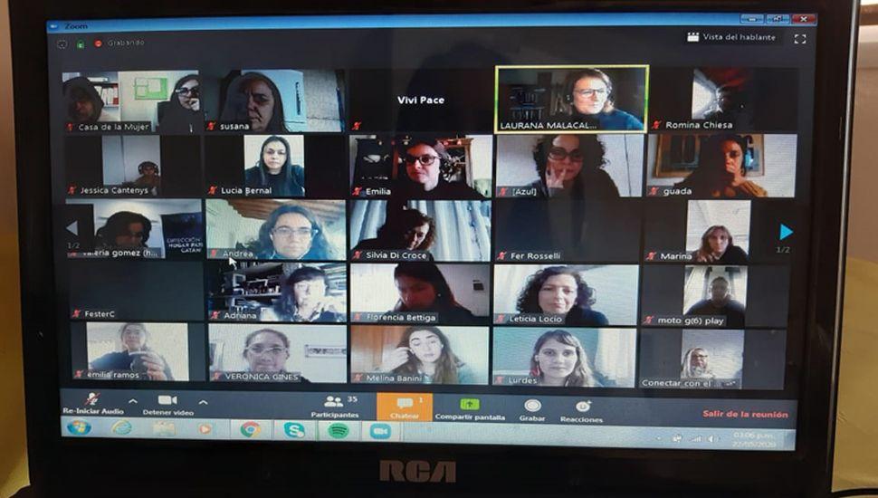 Participantes en el encuentro virtual.