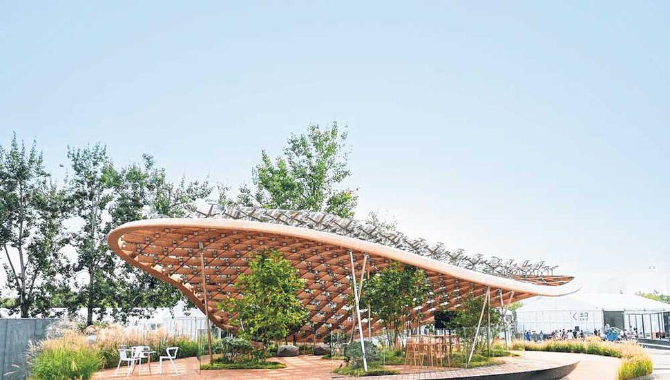 """La casa """"Jardín viviente' expuesta en la exposición House Vision en Pekín."""