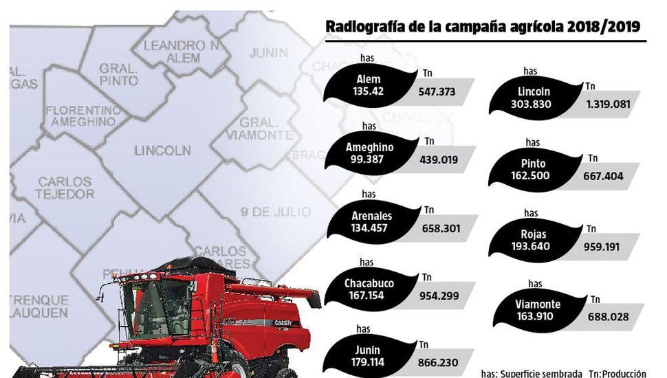 La campaña 2018/2019 superó los 7 millones  de toneladas en la Región y es récord