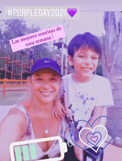 Fernanda y Tiziano se sumaron al Purple Day en redes.
