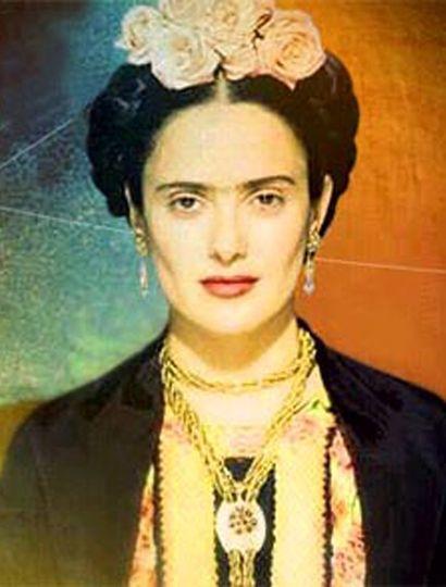 Salma Hayek, como Frida Kahlo.
