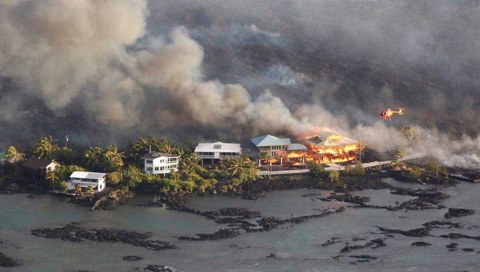 Un barrio entero desapareció debajo  de la lava en la Isla Grande de Hawaii