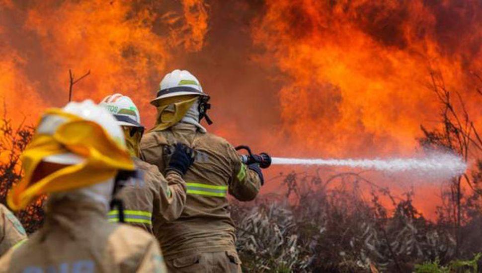 Dos mil bomberos combaten un incendio