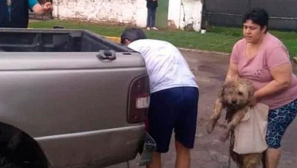 Vecinos escracharon a un hombre que llevaba a su perro encadenado a la camioneta