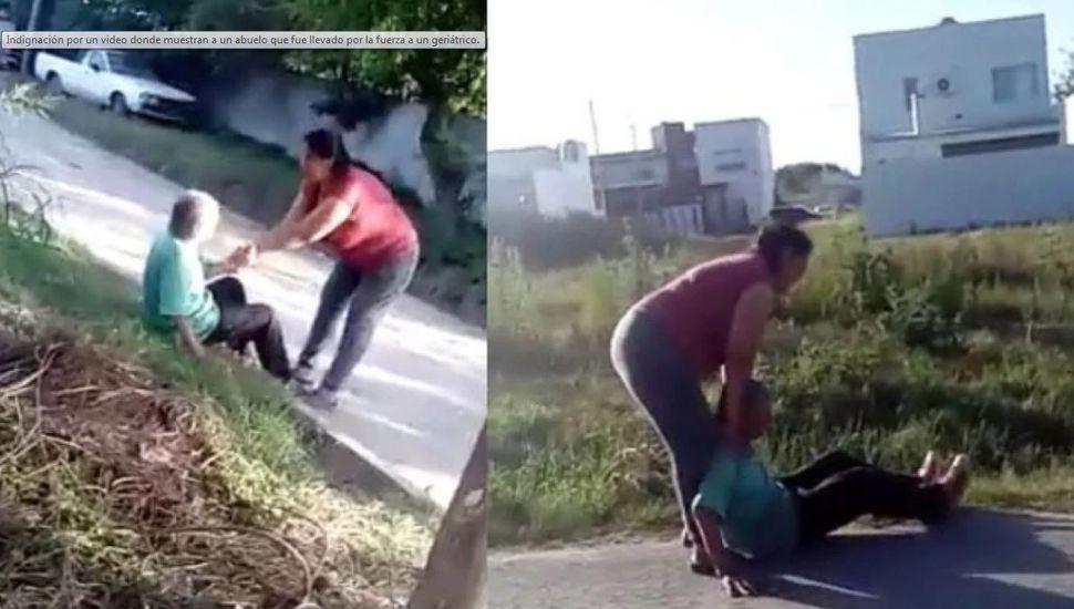 Indignante: una vecina filmó como un abuelo era arrastrado a golpes hacia un geriátrico
