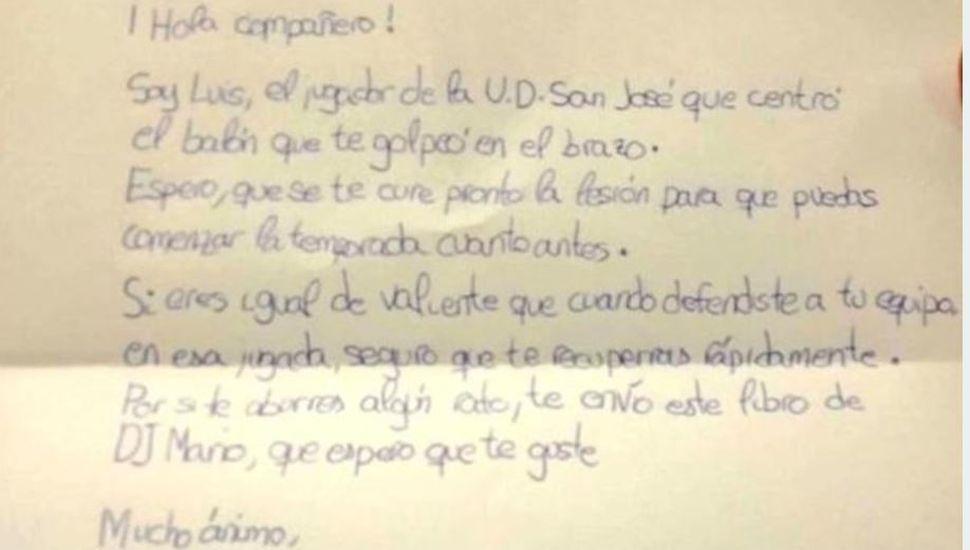 La tierna carta de un nene de 10 años que lesionó a un jugador de otro equipo en un partido de fútbol