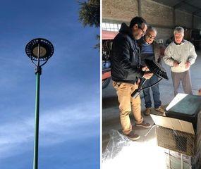 Comenzó la obra de renovación de luminarias de la plaza San Martín de Roberts
