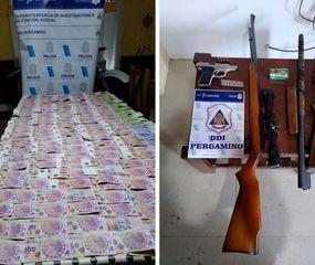 Se incautaron 270 mil pesos, cuatro armas y municiones.